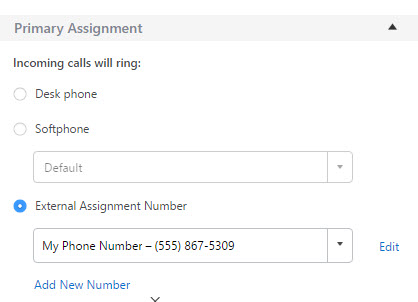 External Assignment Settings in Mitel Connect Client